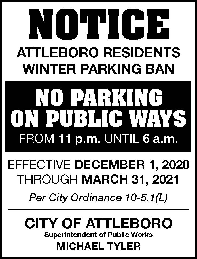 Winter Parking Ban 12-1-2020 to 3-31- 2021